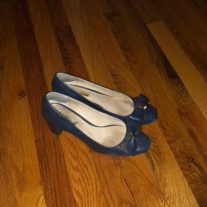 Navy blue leather block heels
